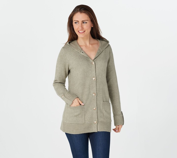 Denim /& Co Natural /& Grey Jacquard Cardigan Sweater New Button Front Long Sleeve