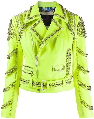 Philipp Plein Studded Leather Biker Jacket