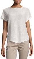 Eileen Fisher Short-Sleeve Bateau-Neck Linen Box Top