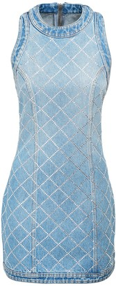 Balmain Embellished Cotton Denim Mini Dress