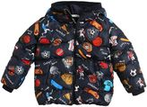 Dolce & Gabbana Sport Printed Hooded Nylon Down Jacket