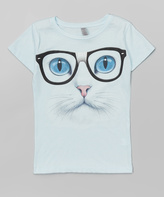 Micro Me Ice Blue Nerdy Kitty Fitted Tee - Girls