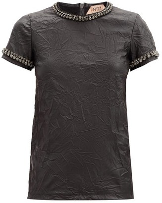 No.21 No. 21 - Crystal-embellished Faux-leather T-shirt - Black