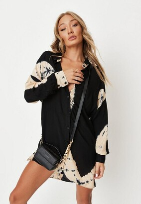 Missguided Petite Black Tie Dye Oversized Dip Back Shirt Dress