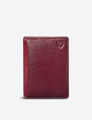 Aspinal of London Double Fold lizard-print leather cardholder