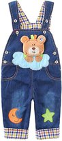 Kidscool Baby Soft Denim Adjustable Overalls with 3D Cartoon Bears on Cloud