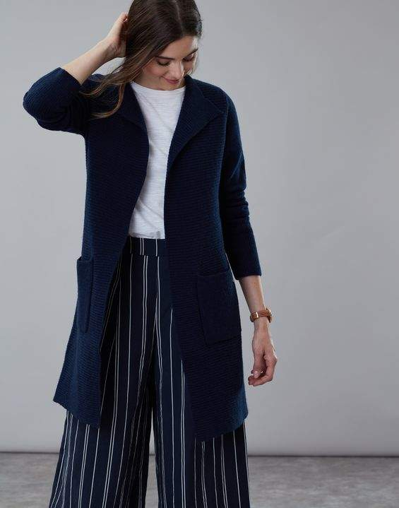 90d49aacae French Navy Camilla Longline Ribbed Cardigan Size 14