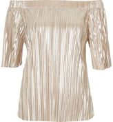 River Island Womens Gold pleated bardot top