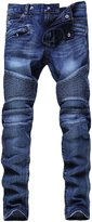 HerQueen Jeans Vintage Ripped Biker Classic Slim Pants Stretched Delim Blue