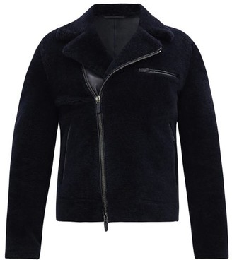 Giorgio Armani Shearling Biker Jacket - Navy