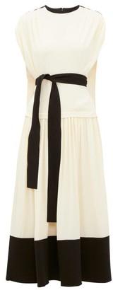 Proenza Schouler Draped Cap Sleeve Crepe Dress - Cream