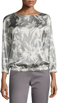 Lafayette 148 New York Evie 3/4-Sleeve Floral-Print Silk Blouse, Multi