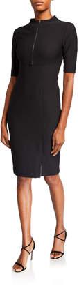 Josie Natori Zip-Front Elbow-Sleeve Compact Knit Sheath Dress
