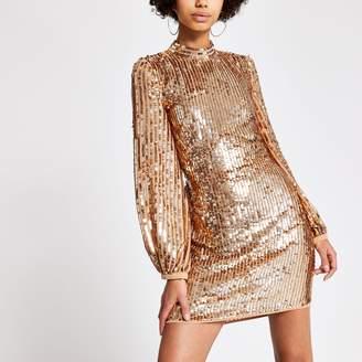 River Island Womens Rose Gold sequin open back mini dress