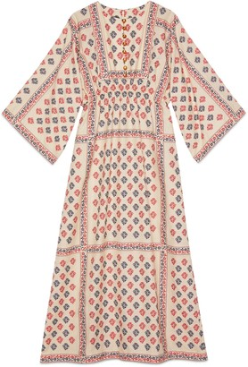 Gucci GG flower fil coupe long kaftan dress