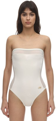 Solid & Striped Madeline Mesh & Lycra Strapless Swimsuit