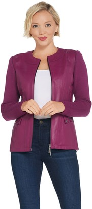 Linea by Louis Dell'Olio Lamb Leather Jacket with Knit Sleeves