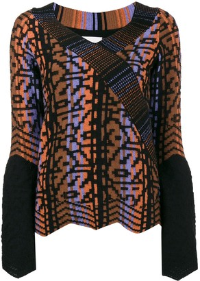 Peter Pilotto Pattern Bell Sleeve Knitted Top