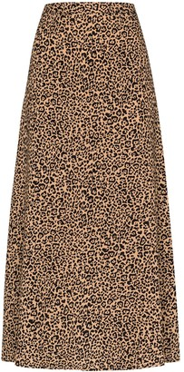 Reformation Bea leopard-print skirt
