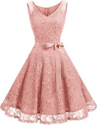 Dressystar 0010 Short Floral Lace Bridesmaid Dress Cocktail Party Dress V Neck XXXL Navy