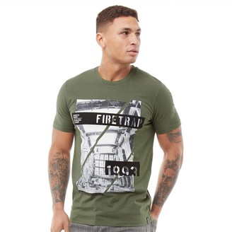 Firetrap Mens Concrete T-Shirt Olive Night