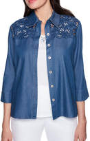 Alfred Dunner Sun City 3/4 Sleeve Collar Neck Woven Embellished Blouse