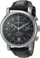 Wenger Men's 'Urban Classic Chrono' Swiss Quartz Stainless Steel and Leather Casual Watch, Color:Black (Model: 01.1043.112)