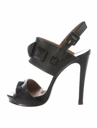 Hermes Leather Studded Accents Slingback Sandals Black
