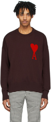 Ami Alexandre Mattiussi Burgundy Ami De Coeur Crewneck Sweater