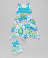 Dollie & Me Turquoise Daisy Handkerchief Dress & Doll Dress - Girls