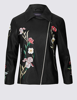 Limited Edition PU Floral Embroidered Biker Jacket