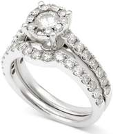 Macy's Diamond Halo Bridal Set (1-1/2 ct. t.w.) in 14k White Gold