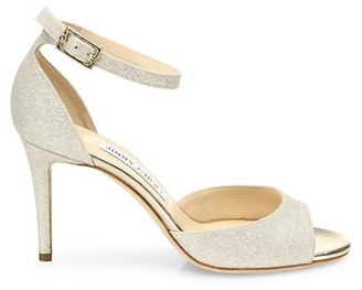 Jimmy Choo Annie d'Orsay Ankle-Strap Glitter Sandals