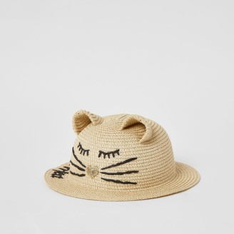 River Island Mini girls Brown 'Purrrfect' cat hat