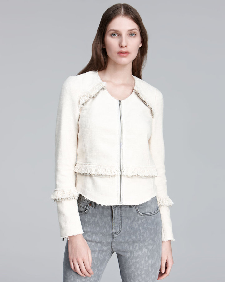 Rebecca Taylor Fringe-Trim Tweed Jacket