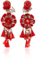Ranjana Khan Red Rop Flower Earrings with Tassels