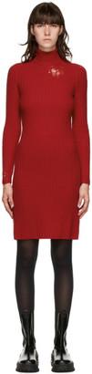 Maison Margiela Red Destroy Knit Turtleneck Dress
