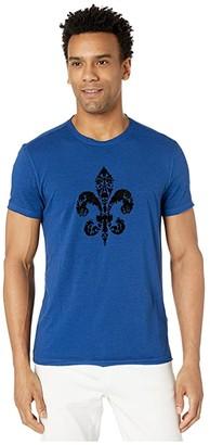 John Varvatos Fleur De Lis Crew Tee KG4777W1B (Royal Blue) Men's Clothing