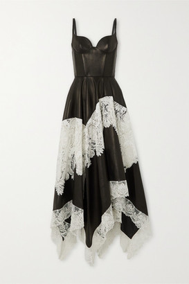 Alexander McQueen Leather And Cotton-blend Guipure Lace Gown - Black