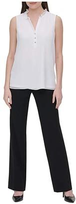 Calvin Klein Sleeveless Ruffle Neck Blouse (Soft White) Women's Clothing