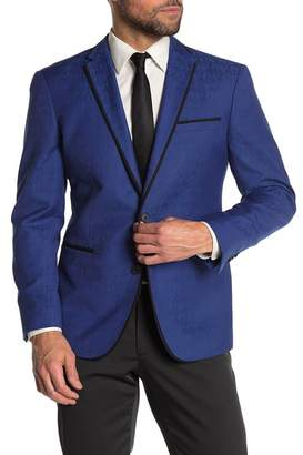 Kenneth Cole Reaction Blue Tonal Floral Two Button Evening Jacket