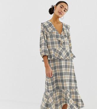 Monki frill detail midi dress in check print-Beige