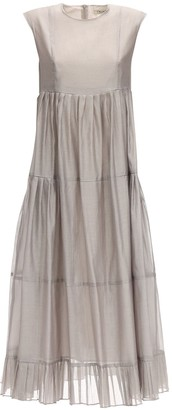 Max Mara 'S Ruffled Cotton & Silk Long Dress