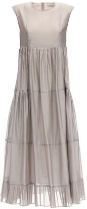 S Max Mara Ruffled Cotton & Silk Long Dress