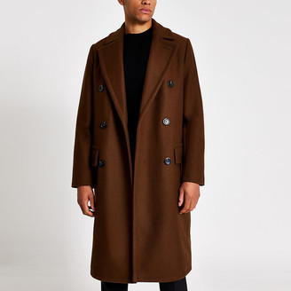 River Island Brown double breasted overcoat
