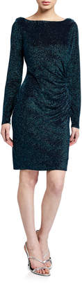 Neiman Marcus Glitter Knit Drape Back Dress