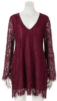 Trixxi Juniors' Long Sleeve Lace Dress