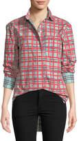 Burberry Saoirse Check Arm-Stripe Shirt