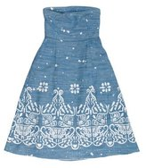 Sea Strapless Embroidered Dress