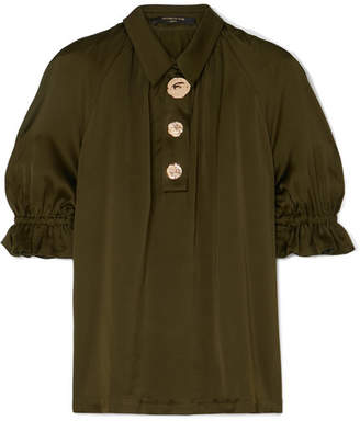 Mother of Pearl Petra Embellished Ruched Satin Blouse - Army green